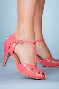 40s Secret Love Sandals in Flamingo Pink
