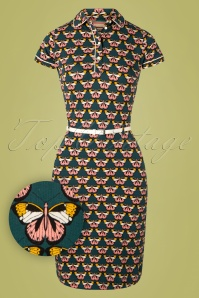 4FunkyFlavours 60s Love X Love Dress in Dark Teal
