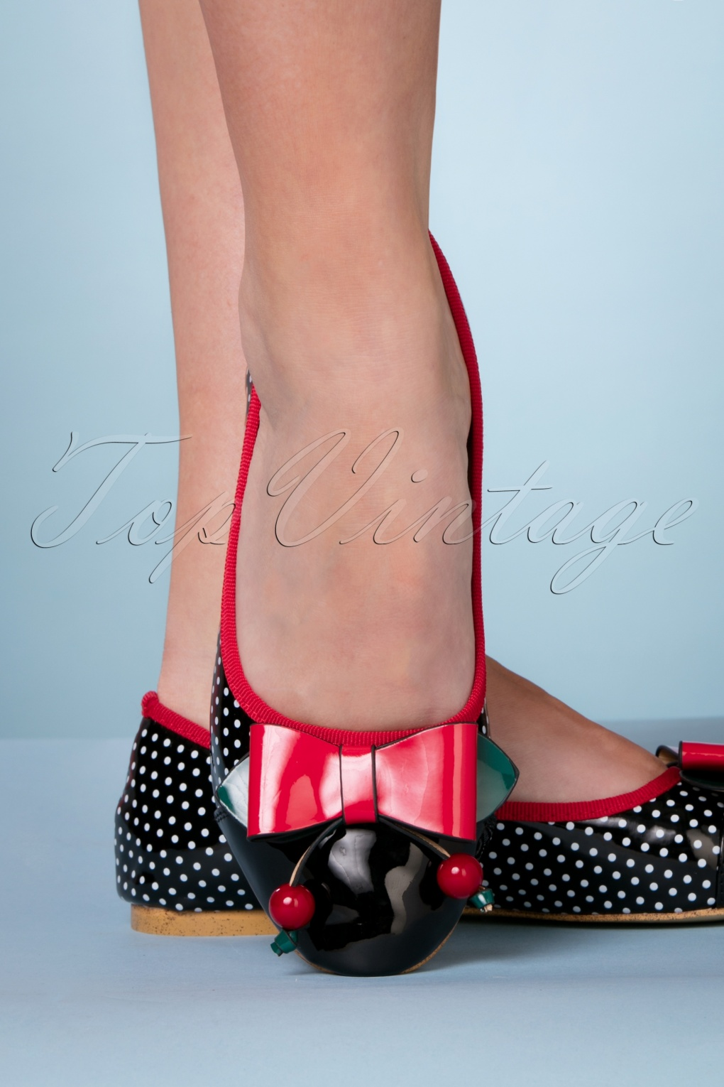 1950s Style Shoes | Heels, Flats, Saddle Shoes 60s Marilou Polka Flats in Black £39.78 AT vintagedancer.com
