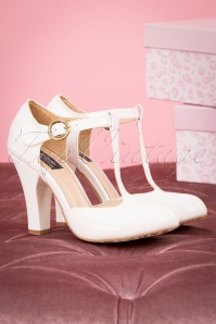 TopVintage Boutique Collection 60s June Patent Leather Is Always Better T-Strap Pumps in Cream