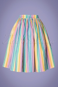 Collectif Clothing 27631 Jasmine Rainbow Striped Swing Skirt 20190121 005W