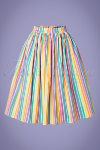 Collectif Clothing 50s Jasmine Rainbow Stripes Swing Skirt in Multi