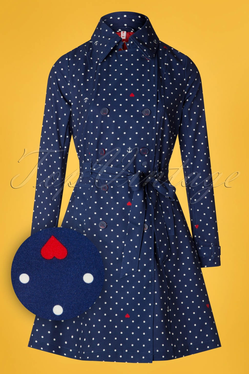 1960s Style Dresses, Clothing, Shoes UK 60s Spy of Love Trench Coat in Love Me Anchor Blue £140.58 AT vintagedancer.com
