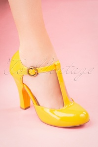 Topvintage Boutique 28394 June T strap Pump in Yellow 20190115 034W