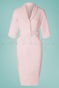Closet London 60s Sherri Pencil Dress in Light Pink