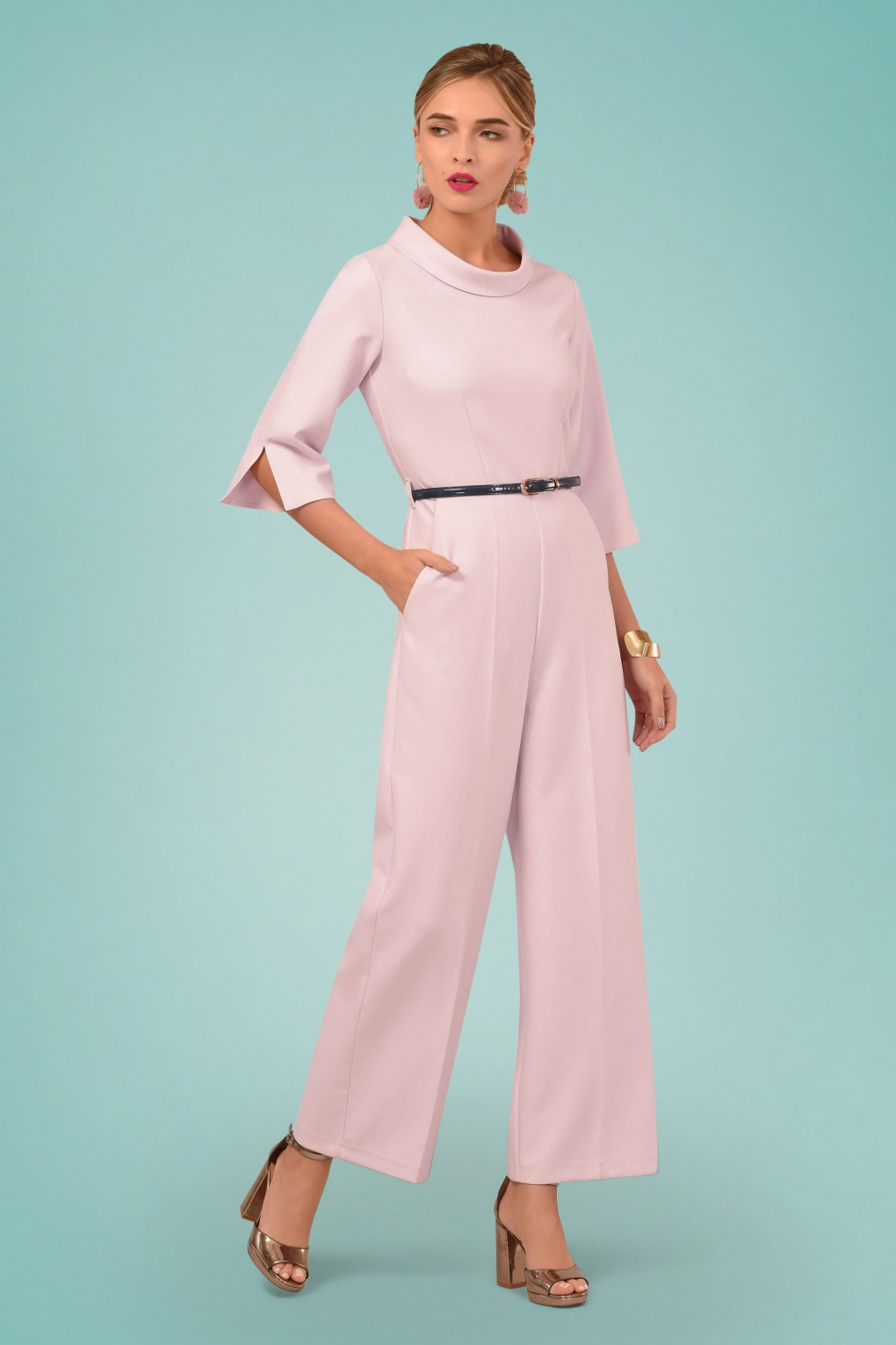 1960s Style Dresses, Clothing, Shoes UK 60s Funnel Collar Jumpsuit in Light Pink £87.84 AT vintagedancer.com