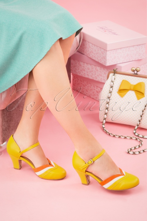 Topvintage Boutique 28401 Ava Mary Jane Pump in Yellow 20190115 012W