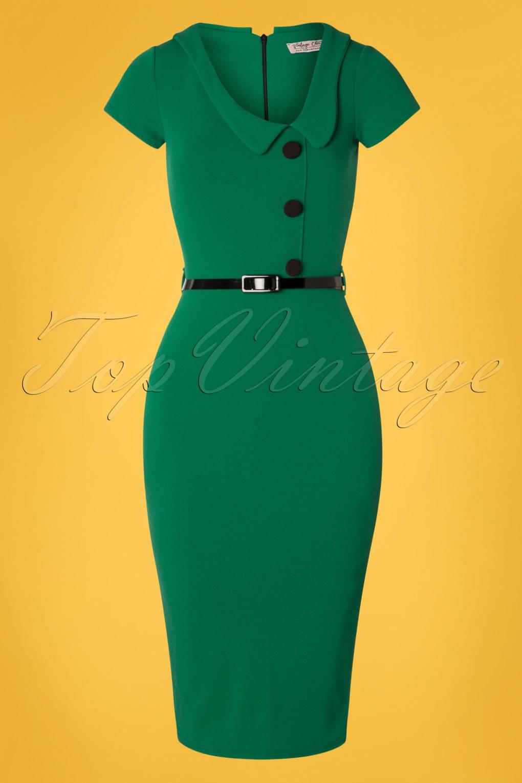 Wiggle Dresses   Pencil Dresses 40s, 50s, 60s 50s Lynne Pencil Dress in Emerald Green £51.90 AT vintagedancer.com