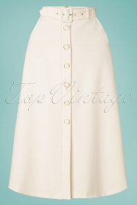 Closet London 60s Senna A-Line Midi Skirt in Ivory