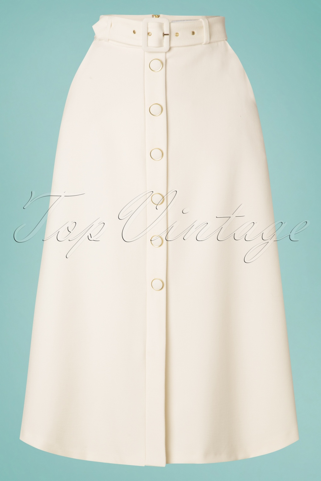 1960s Style Dresses, Clothing, Shoes UK 60s Senna A-Line Midi Skirt in Ivory £64.89 AT vintagedancer.com