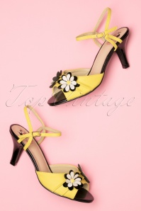 Banned Retro 50s Dazed Blossom Sandals in Mustard and Black