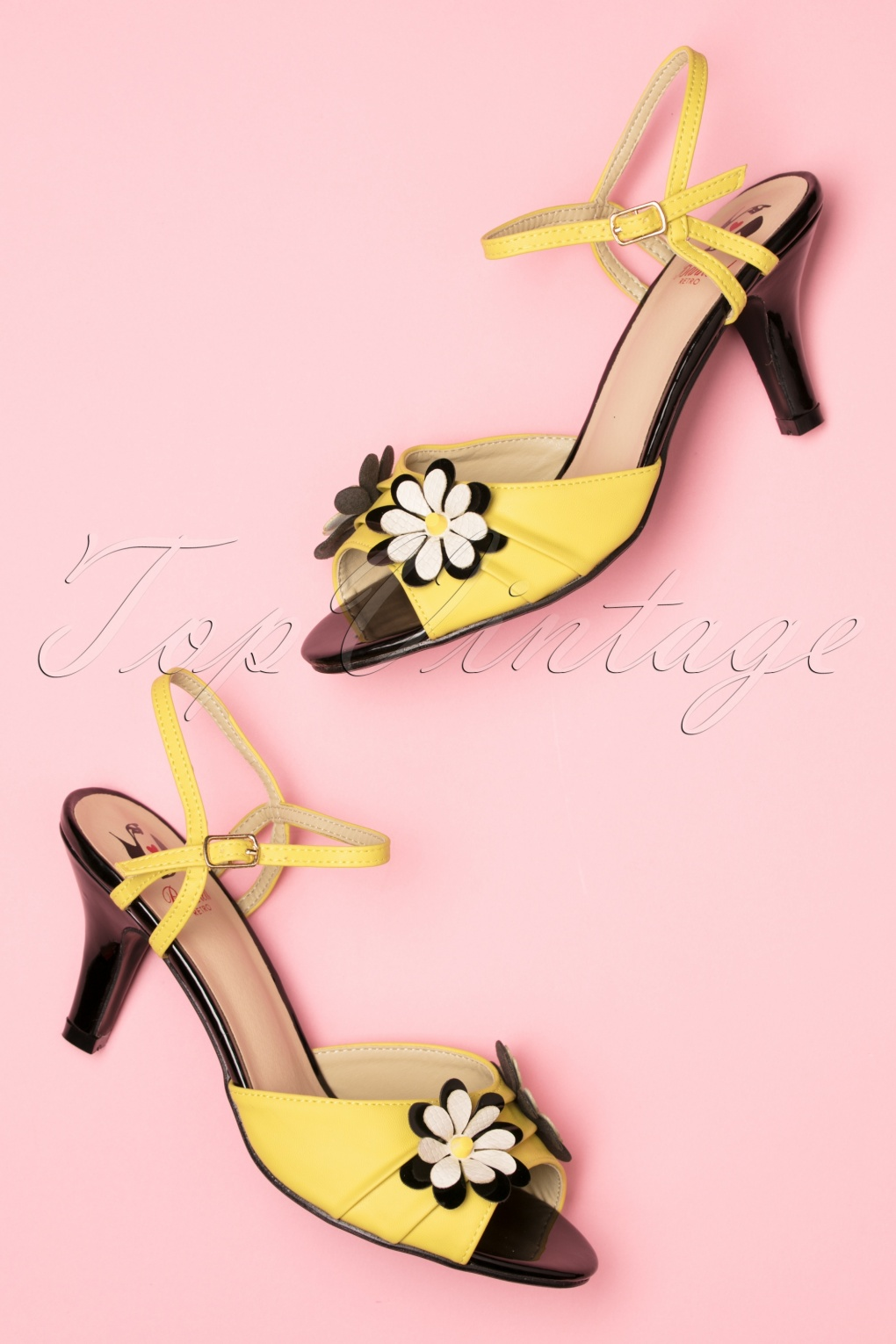 1960s Style Dresses, Clothing, Shoes UK 50s Dazed Blossom Sandals in Mustard and Black £42.38 AT vintagedancer.com