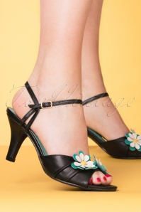 50s Dazed Blossom Sandals in Black and Aqua