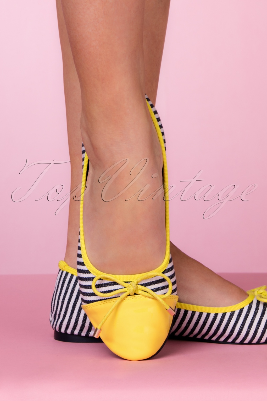 Pin Up Shoes- Heels, Pumps & Flats 50s Devon Striped Flats in Yellow £40.20 AT vintagedancer.com