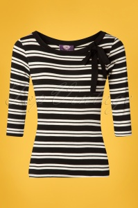TopVintage Boutique Collection 50s Janice Stripes Top in Black and White