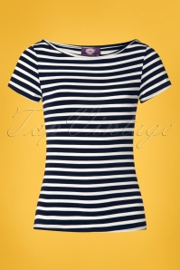50s Sabrina Stripes Shirt in Navy