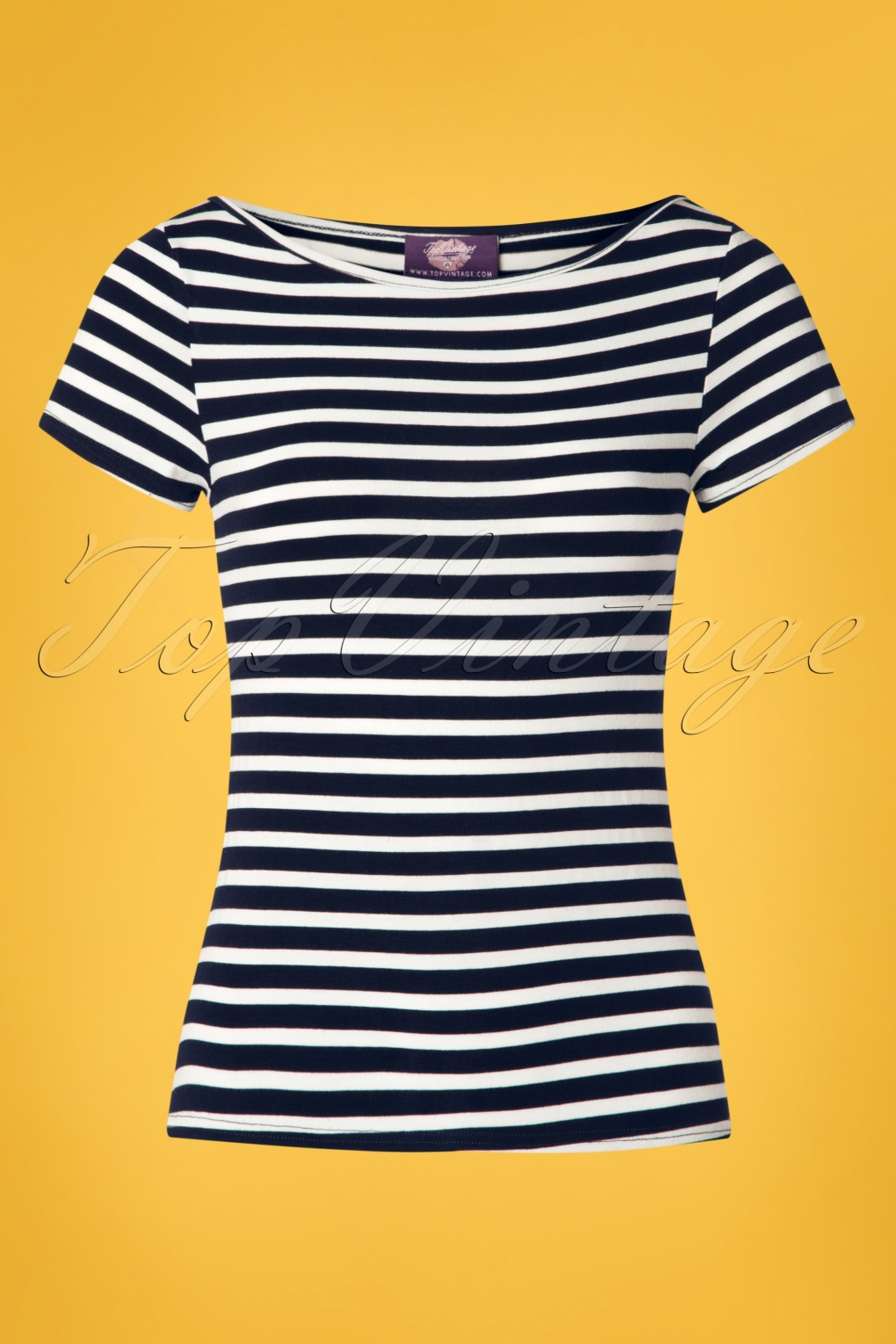 1940s Dresses and Clothing UK | 40s Shoes UK 50s Sabrina Stripes Shirt in Navy �26.20 AT vintagedancer.com