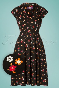 TopVintage Boutique Collection 50s Lynne Floral Swing Dress in Black