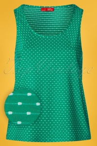 Who's That Girl 60s Pel Pin Dot Top in Fern Green