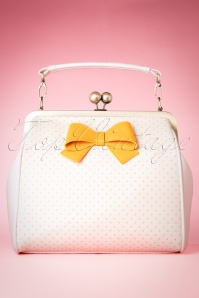 50s Mindy Spot The Dots Handbag in Cream