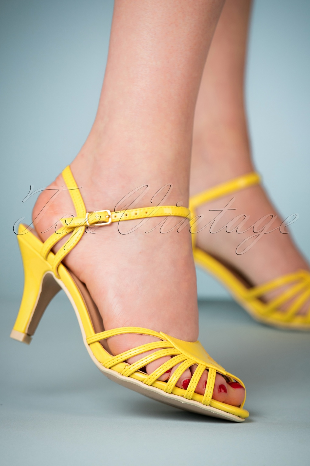 70s Shoes, Platforms, Boots, Heels | 1970s Shoes 40s Amelia Sandals in Yellow £24.95 AT vintagedancer.com