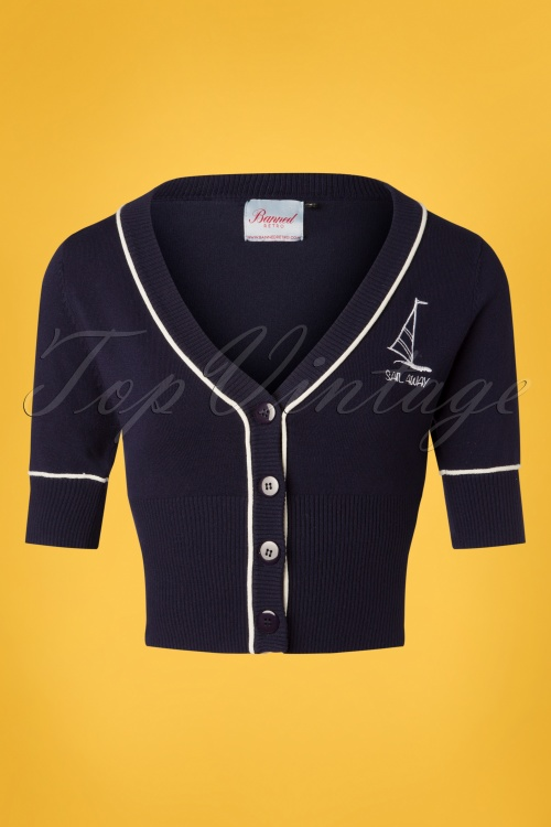 Banned 28566 50s Sail Away Embriodered Cardigan in Navy 20181218 002W