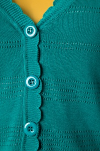 Banned 28570 Pointelle Cardigan in Teal 20181218 006W