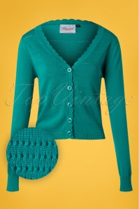 50s Pointelle Cardigan in Aqua Blue