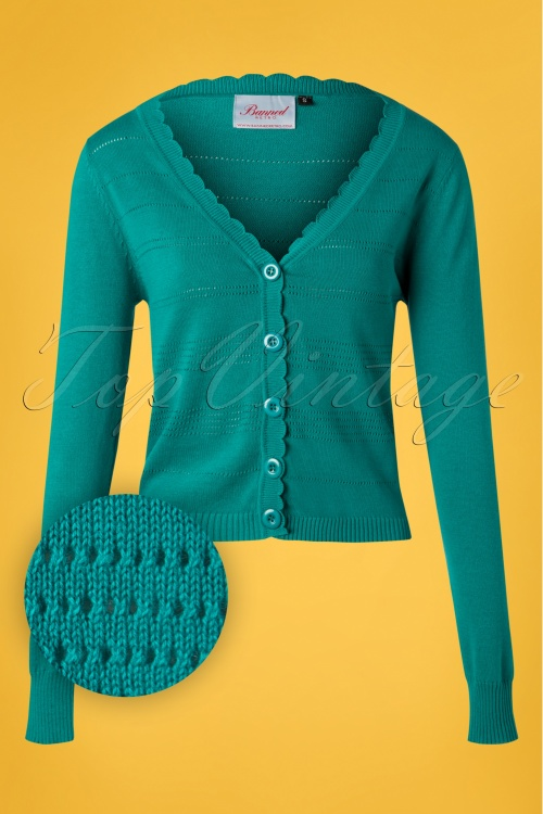 Banned 28570 Pointelle Cardigan in Teal 20181218 004W1