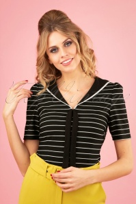 50s Pier Stripes Jersey Top in Black