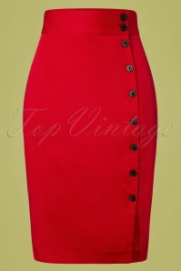50s Rockin Pencil Skirt in Deep Red