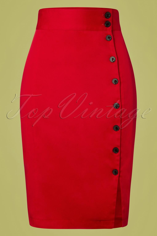 50s Dresses UK | 1950s Dresses, Shoes & Clothing Shops 50s Rockin Pencil Skirt in Deep Red £34.59 AT vintagedancer.com
