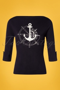 50s Anchors Away Jumper in Navy