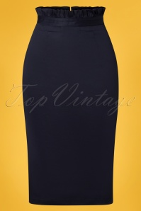 50s Sail Away Frill Skirt in Navy