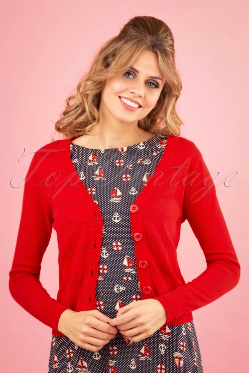 Banned 28571 Pointelle Cardigan in Red 20181218 0100W