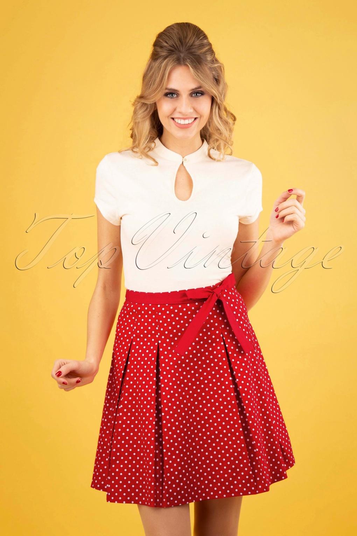50s Teeny Polkadot Skirt in Red
