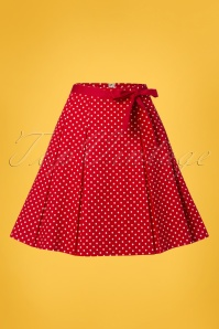 Banned 28461 Teeny Polka A Line Skirt in Red 20181219 001W