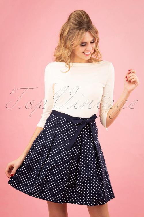 Banned 28462 Teeny Polka A Line Skirt in Blue 20181219 0100W