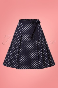 Banned 28462 Teeny Polka A Line Skirt in Blue 20181219 002W