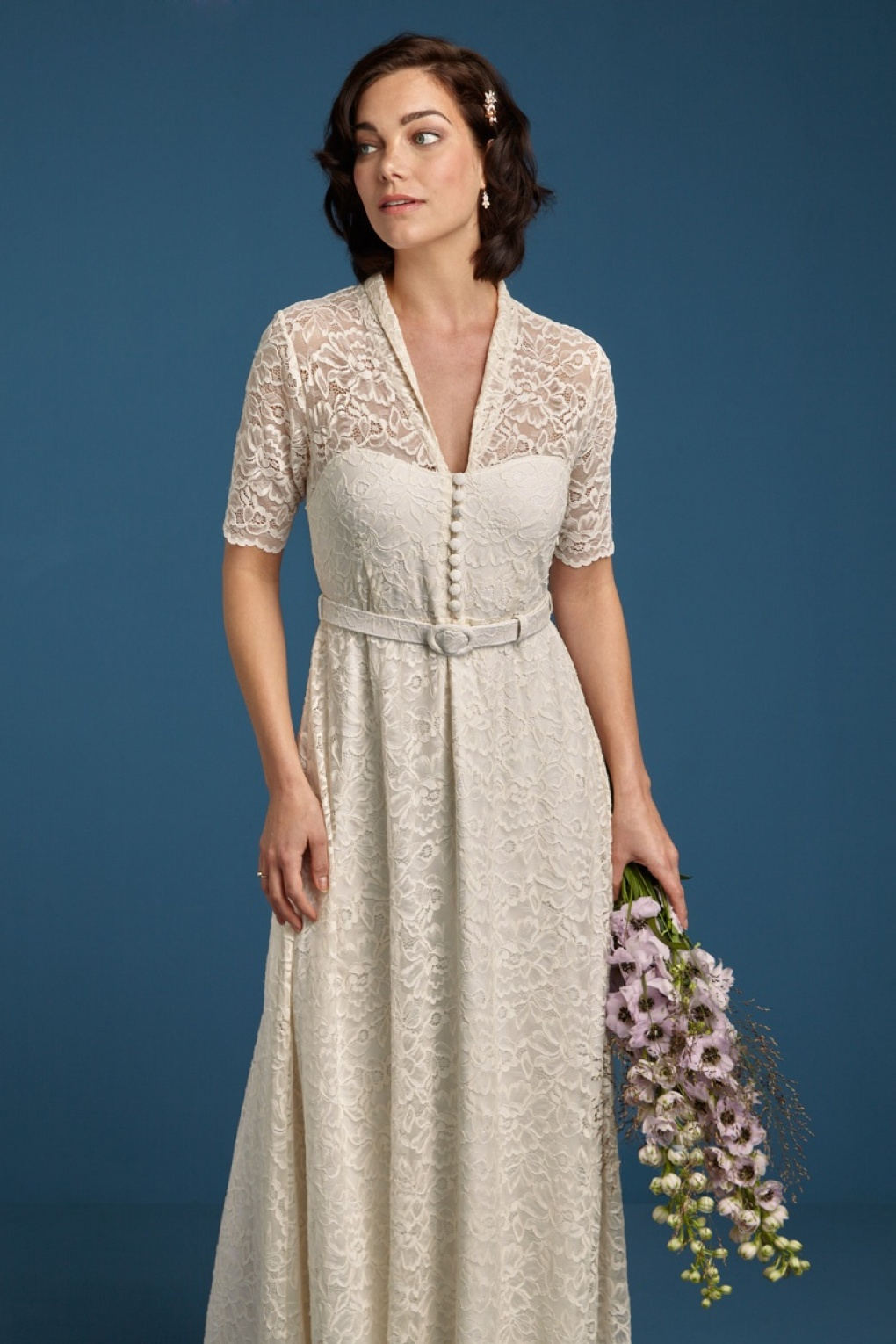 1960s Style Dresses, Clothing, Shoes UK 50s Emmy Dentelle Wedding Maxi Dress in Cream £258.83 AT vintagedancer.com