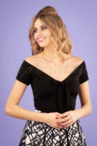 50s Bow Wow Top in Black