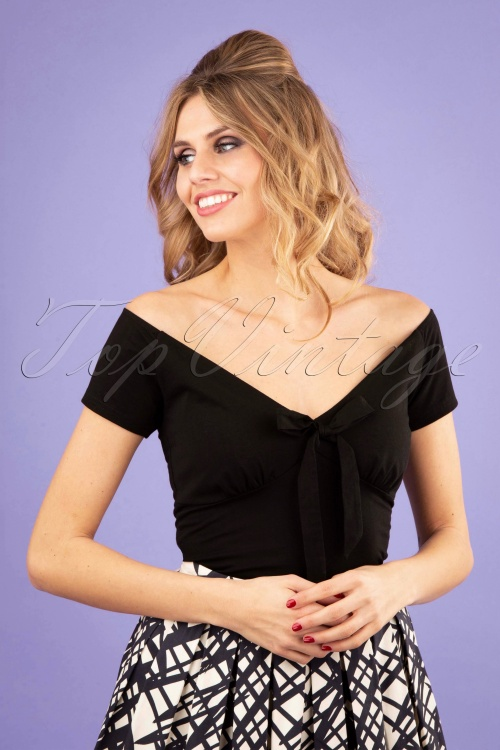 Banned 28542 50s Bow Wow Top in Black 20181218 0100W
