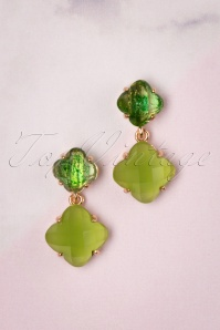 50s Stone Stud Earrings in Lime Green