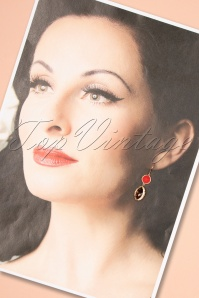 Glamfemme 29122 Earrings Red Sparkle Brown 20190121 009W