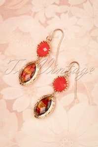 50s Vintage Drop Earrings in Coral