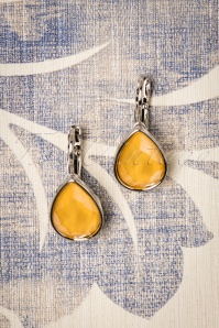 Vintage Teardrop Earrings Années 50 en Jaune Miel