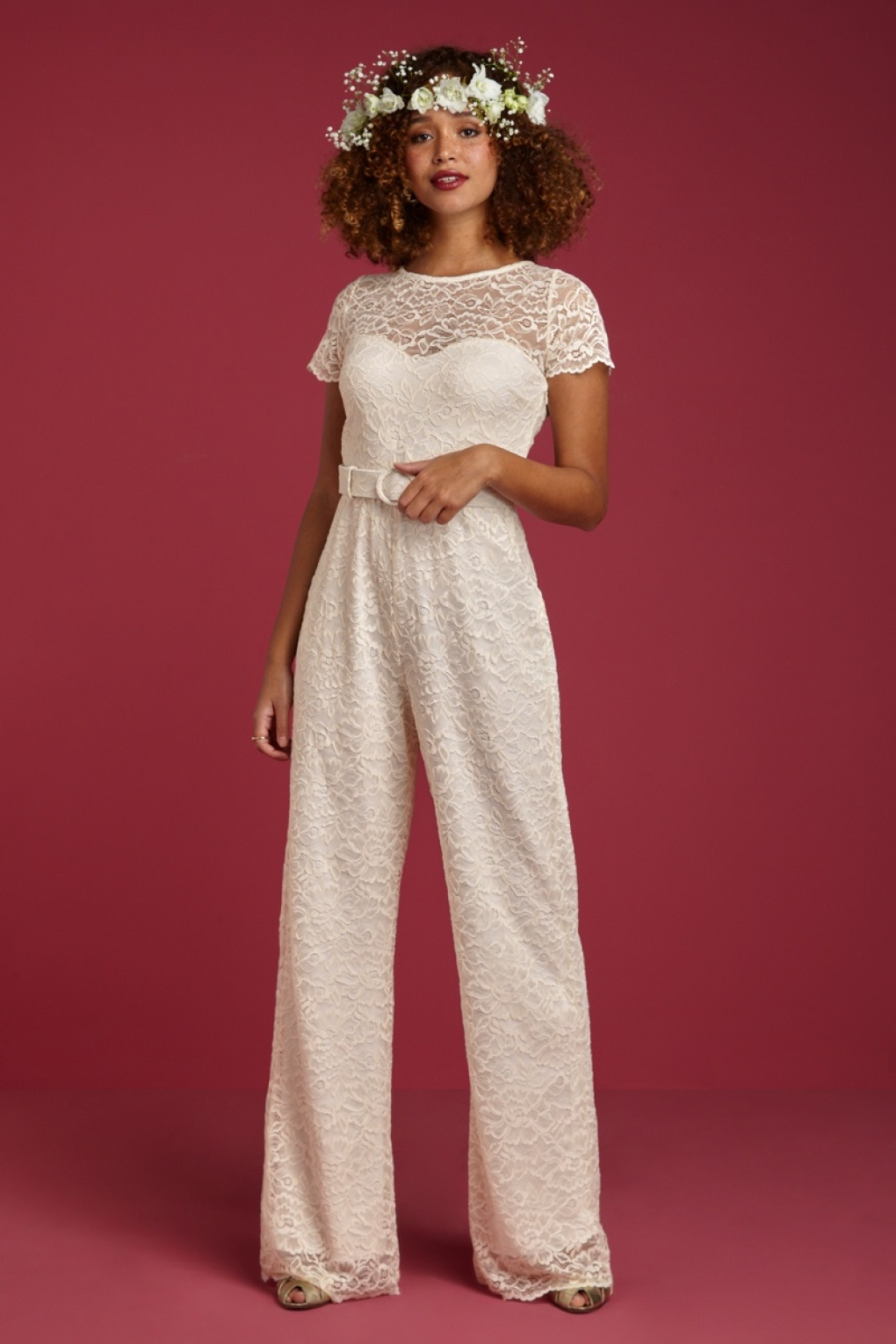 Vintage Inspired Wedding Dress | Vintage Style Wedding Dresses Betty Dentelle Wedding Jumpsuit in Cream £232.86 AT vintagedancer.com