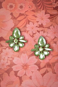 50s Vintage Flower Earrings in Olive Green