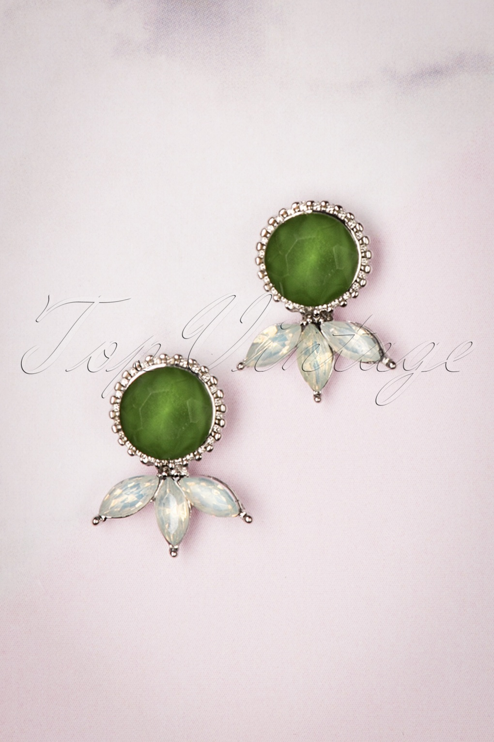 1960s Style Dresses, Clothing, Shoes UK 50s Vintage Stud Earrings in Green Sparkle £6.02 AT vintagedancer.com