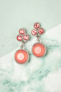 50s Vintage Small Earrrings in Sparkling Coral